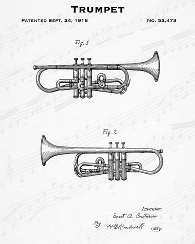 1918 Trumpet Patent - 8X10 Digital Download Patent
