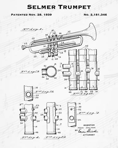 1939 Selmer Trumpet Patent - 8X10 Digital Download Patent