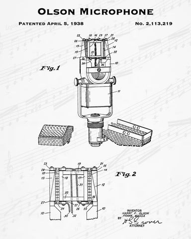 1938 Olson Microphone Patent - 8X10 Digital Download Patent