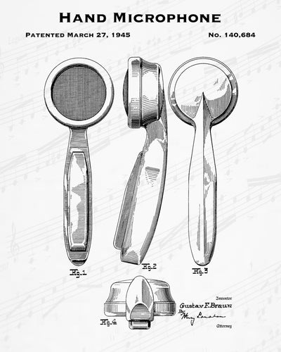 1945 Hand Microphone Patent - 8X10 Digital Download Patent