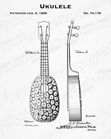 1928 Ukulele Patent - 8X10 Digital Download Patent