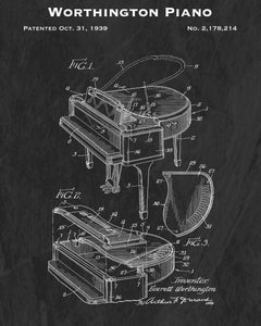 1939 Worthington Piano Patent Art Print