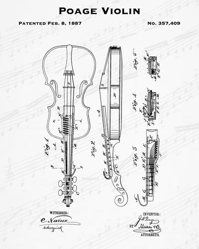 1887 Poage Violin Patent - 8X10 Digital Download Patent
