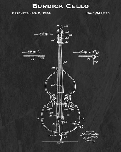 1934 Burdick Cello Patent Art Print