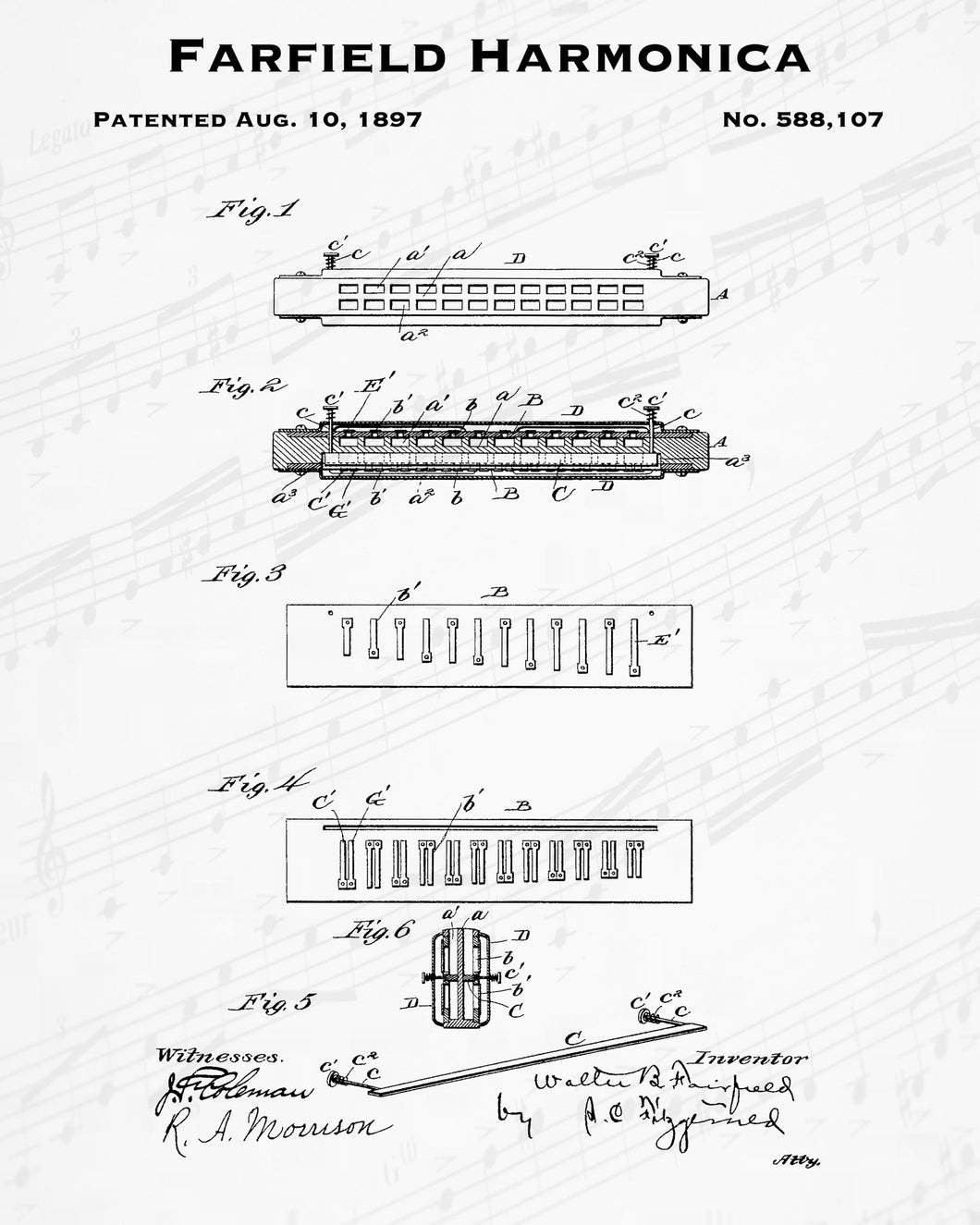 1897 Farfield Harmonica Patent - 8X10 Digital Download Patent