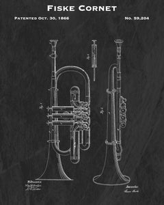 Fiske Cornet Patent Art Print - Antique Instrument Decor - Music Lover Gift Art