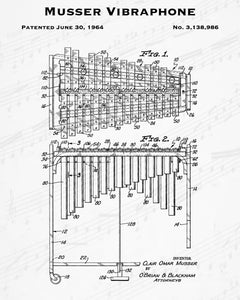 1964 Musser Vibraphone Patent - 8X10 Digital Download Patent