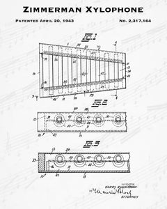 1943 Zimmerman Xylophone Patent - 8X10 Digital Download Patent