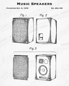1979 Music Speakers Patent - 8X10 Digital Download Patent