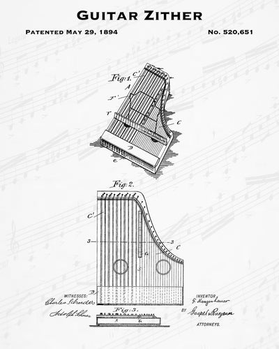 1894 Guitar Zither Patent - 8X10 Digital Download Patent
