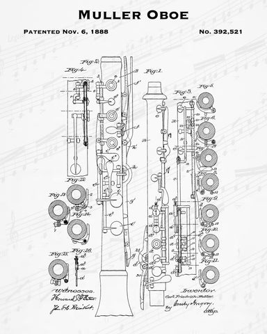 1888 Muller Oboe Patent - 8X10 Digital Download Patent