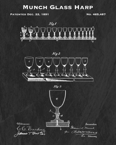 1891 Munch Glass Harp Patent Art Print