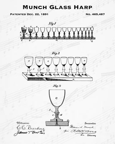1891 Munch Glass Harp Patent - 8X10 Digital Download Patent