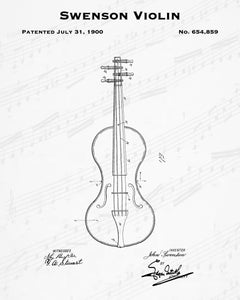 1900 Swenson Violin Patent - 8X10 Digital Download Patent