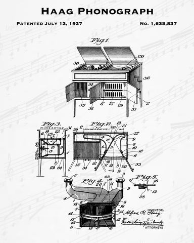 1927 Haag Phonograph Patent - 8X10 Digital Download Patent