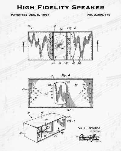 1967 High Fidelity Speaker Patent - 8X10 Digital Download Patent