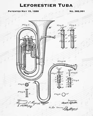 1888 Leforestier Tuba Patent - 8X10 Digital Download Patent