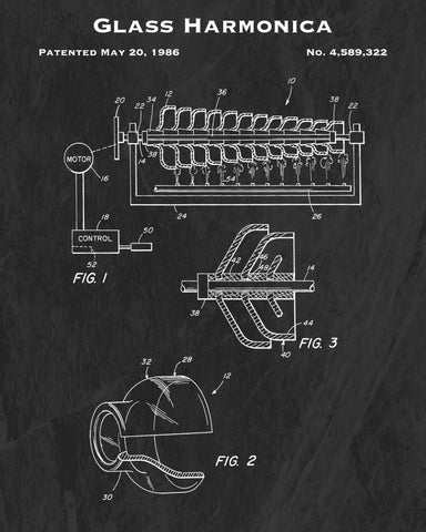 1986 Glass Harmonica Patent Art Print