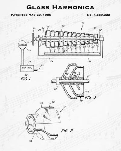 1986 Glass Harmonica Patent - 8X10 Digital Download Patent