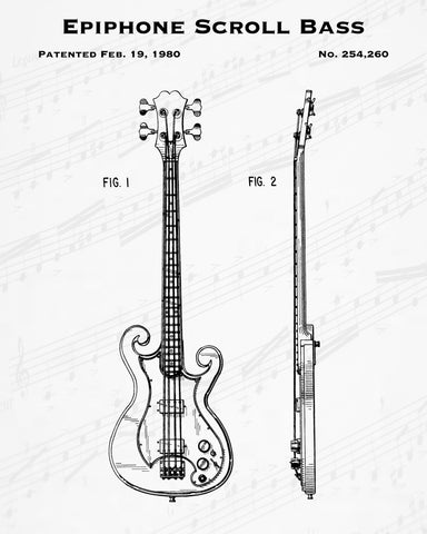 1980 Epiphone Scroll Bass Patent - 8X10 Digital Download Patent