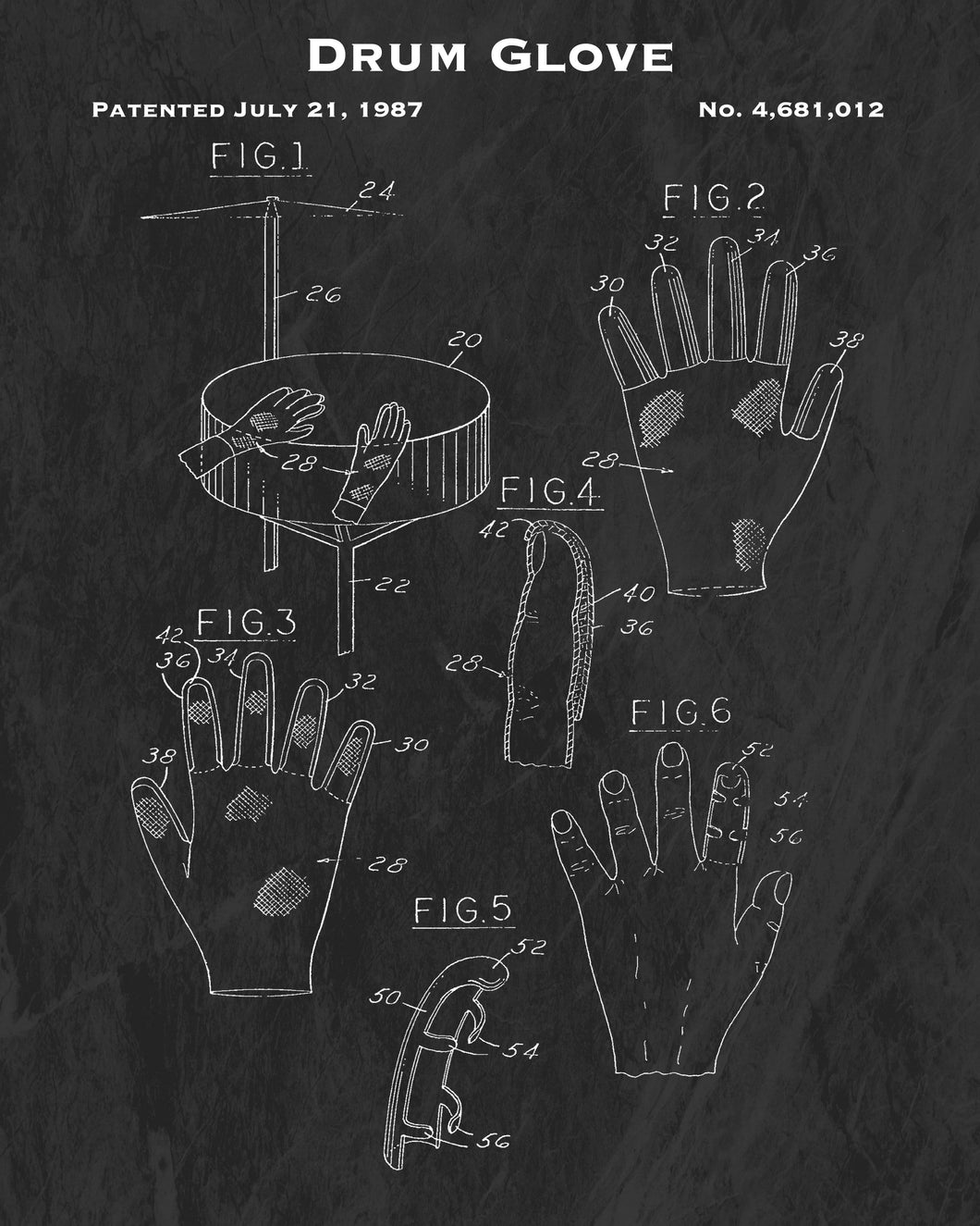 1987 Drum Glove Patent Art Print