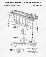 1961 Fender Pedal Steel Guitar Patent - 8X10 Digital Download Patent