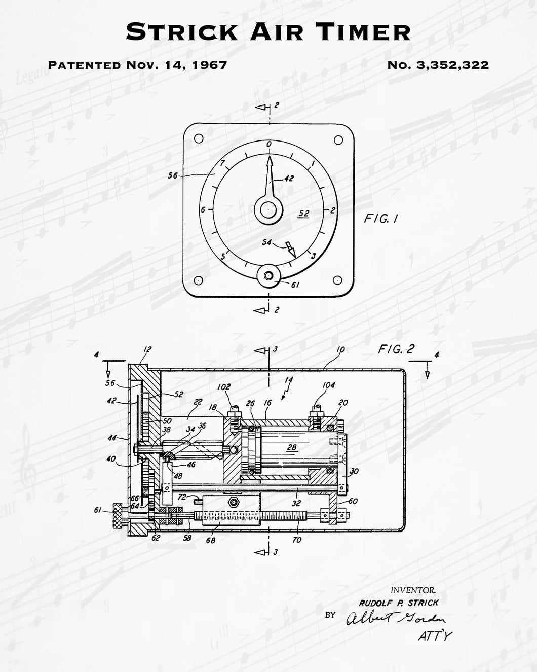 1967 Strick Air Timer Patent - 8X10 Digital Download Patent