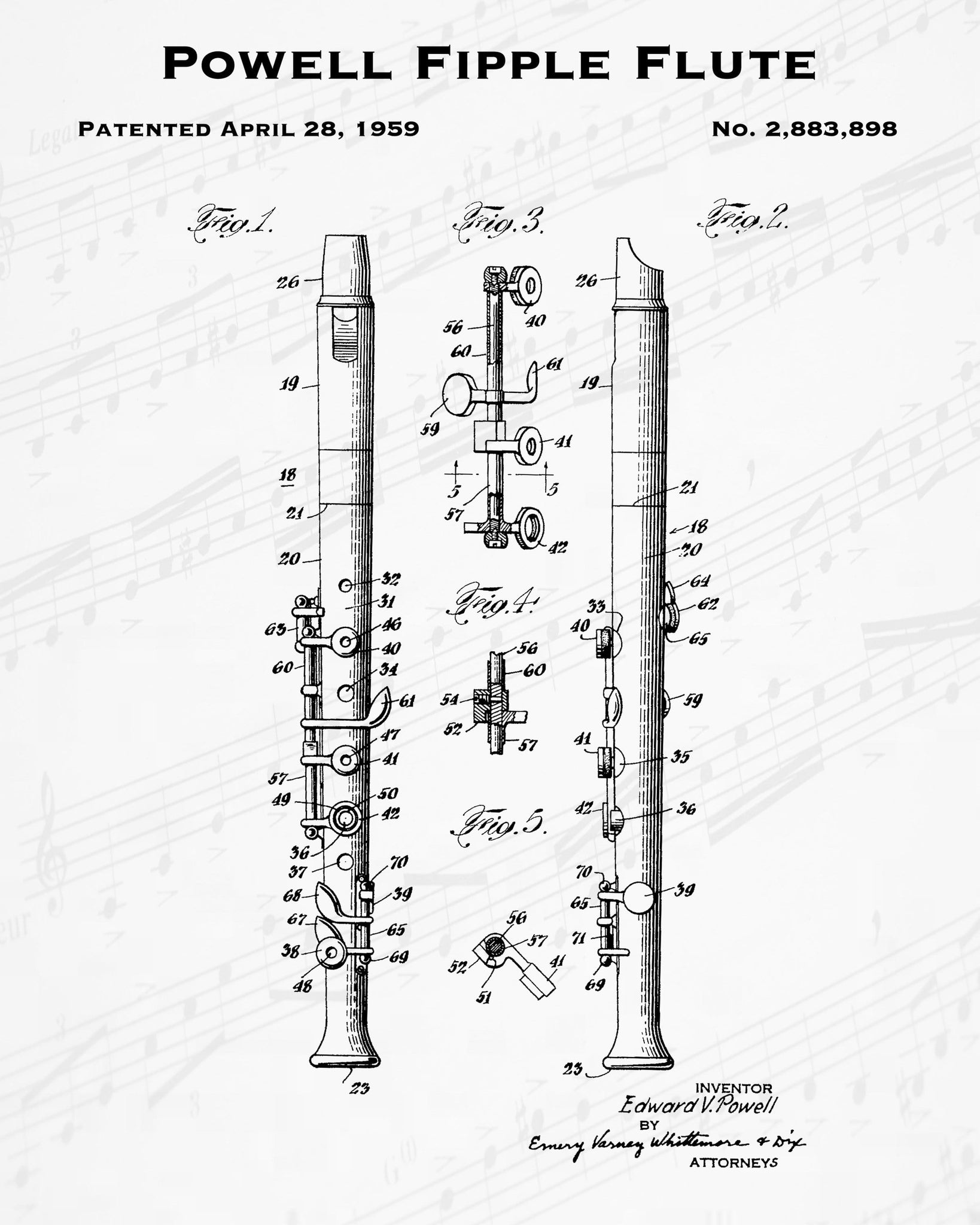 1959 Powell Fipple Flute Patent - 8X10 Digital Download Patent