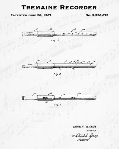 1967 Tremaine Recorder Patent - 8X10 Digital Download Patent