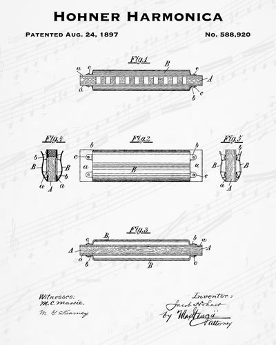 1897 Hohner Harmonica Patent - 8X10 Digital Download Patent