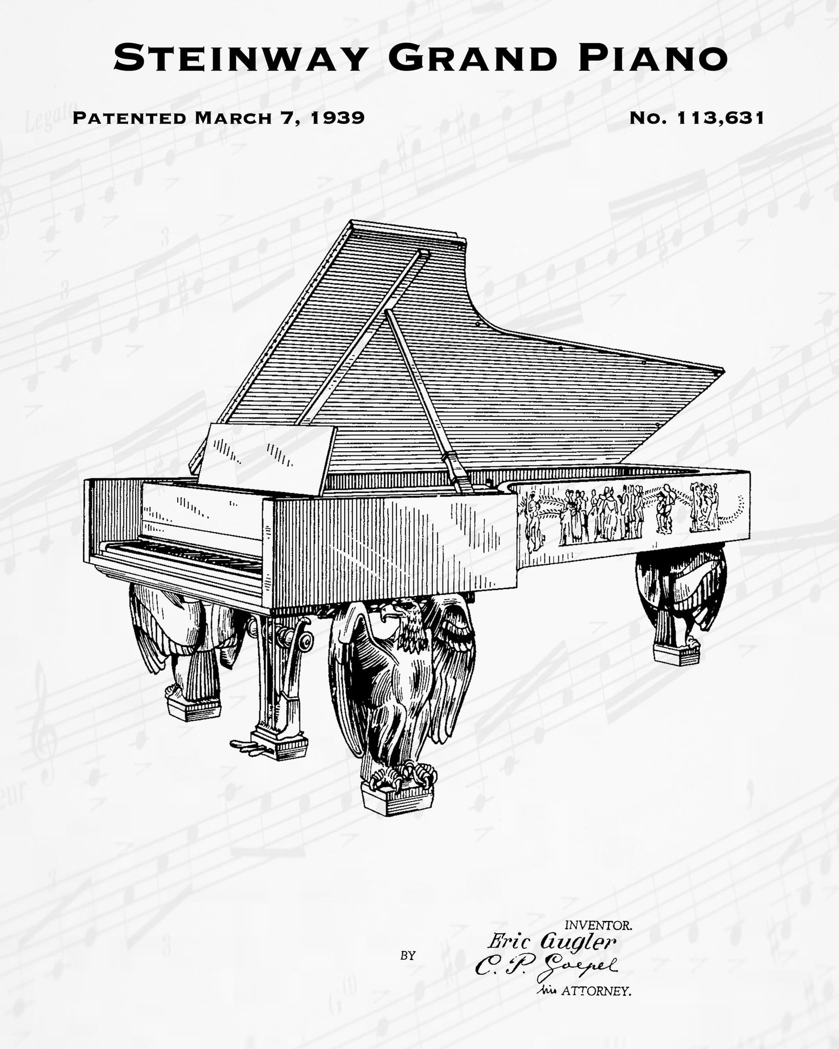 1939 Steinway Grand Piano Patent - 8X10 Digital Download Patent
