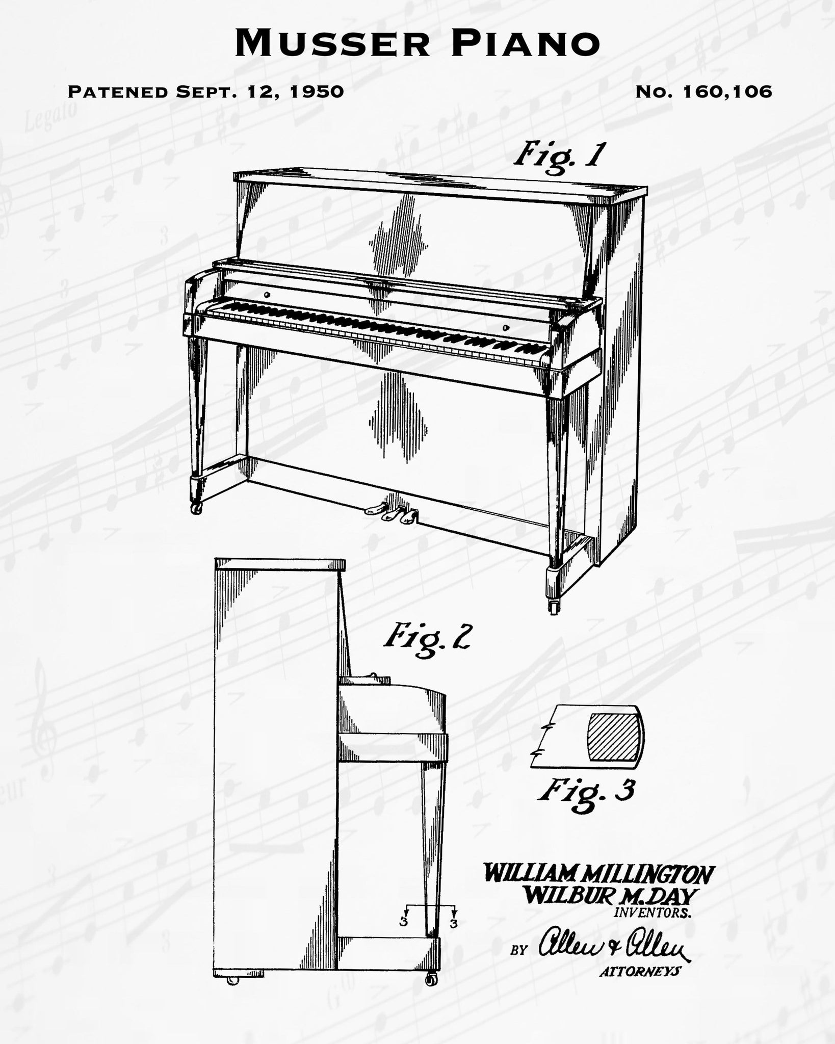1950 Musser Piano Patent - 8X10 Digital Download Patent