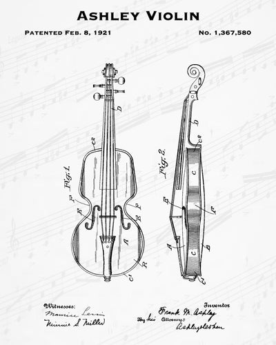 1921 Ashley Violin Patent - 8X10 Digital Download Patent