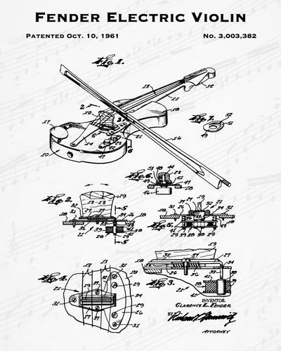 1961 Fender Electric Violin Patent - 8X10 Digital Download Patent
