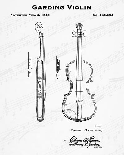 1945 Garding Violin Patent - 8X10 Digital Download Patent