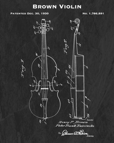 1930 Brown Violin Patent Art Print