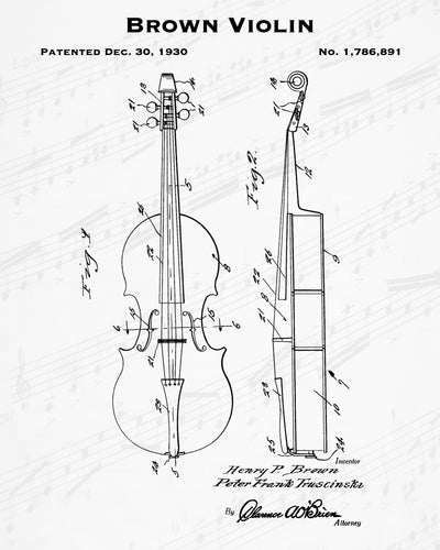 1930 Brown Violin Patent - 8X10 Digital Download Patent