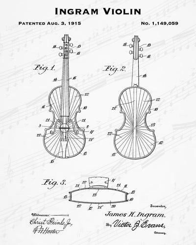1915 Ingram Violin Patent - 8X10 Digital Download Patent