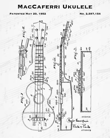 1952 MacCaferri Ukulele Patent - 8X10 Digital Download Patent
