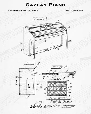1941 Gazlay Piano Patent - 8X10 Digital Download Patent