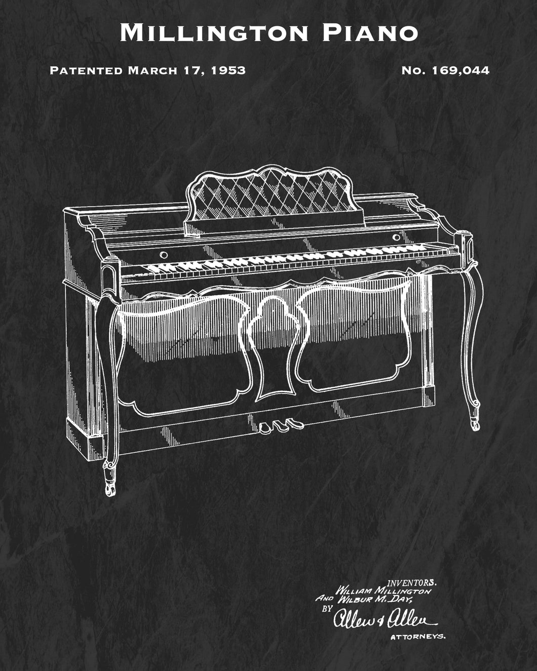 1953 Millington Piano Patent Art Print