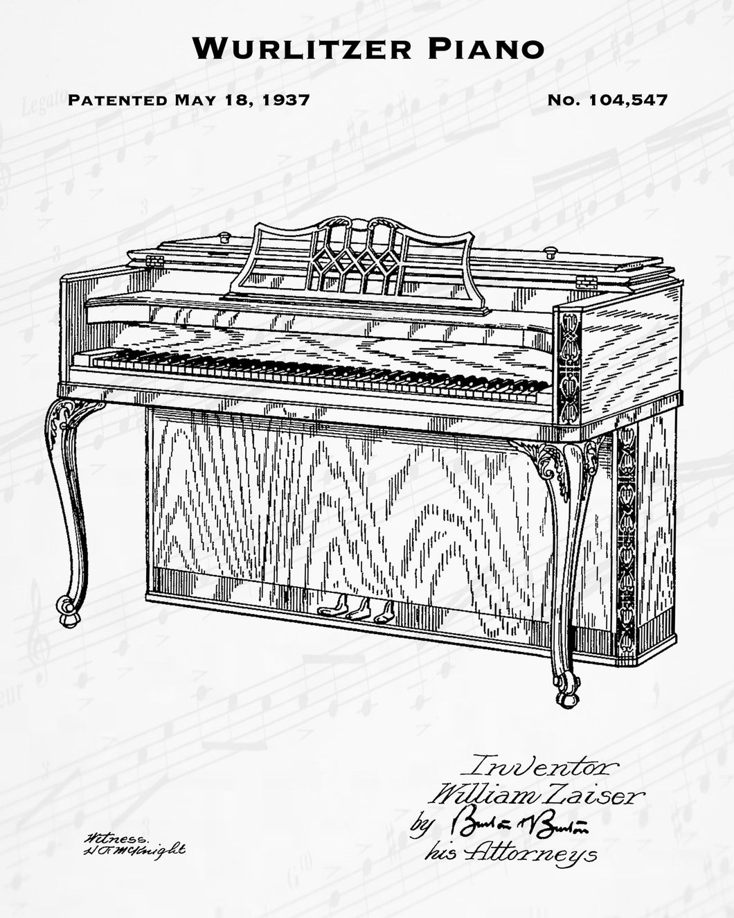 1937 Wurlitzer Piano Patent - 8X10 Digital Download Patent