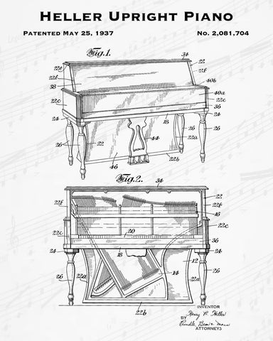 1937 Heller Upright Piano Patent - 8X10 Digital Download Patent