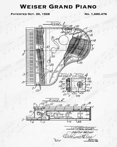 1928 Weiser Grand Piano Patent - 8X10 Digital Download Patent