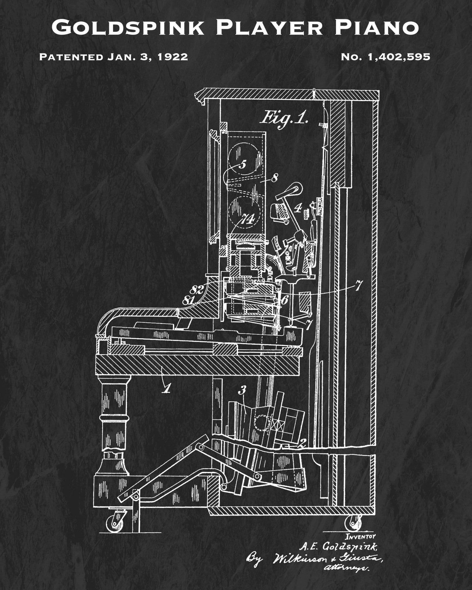 1922 Goldspink Player Piano Patent Art Print