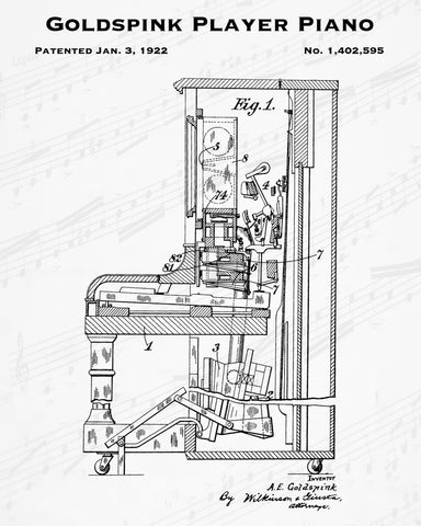 1922 Goldspink Player Piano Patent - 8X10 Digital Download Patent