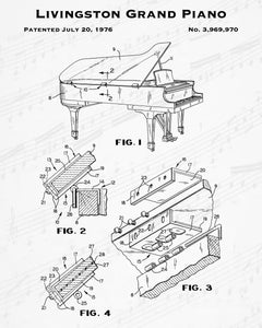 1976 Livingston Grand Piano Patent - 8X10 Digital Download Patent