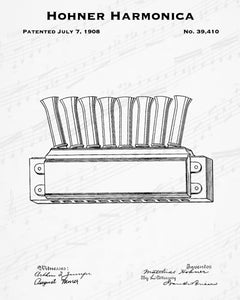 1908 Hohner Harmonica Patent - 8X10 Digital Download Patent