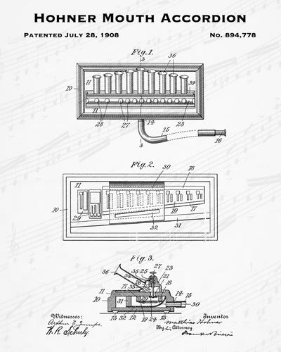 1908 Hohner Mouth Accordion Patent - 8X10 Digital Download Patent
