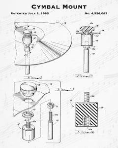 1985 Cymbal Mount Patent - 8X10 Digital Download Patent